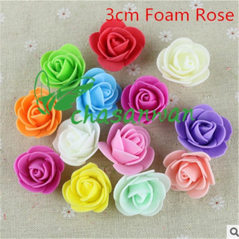 25 unids 3 cm espuma pe rosa flor artificial rose flores hechas a mano diy decor
