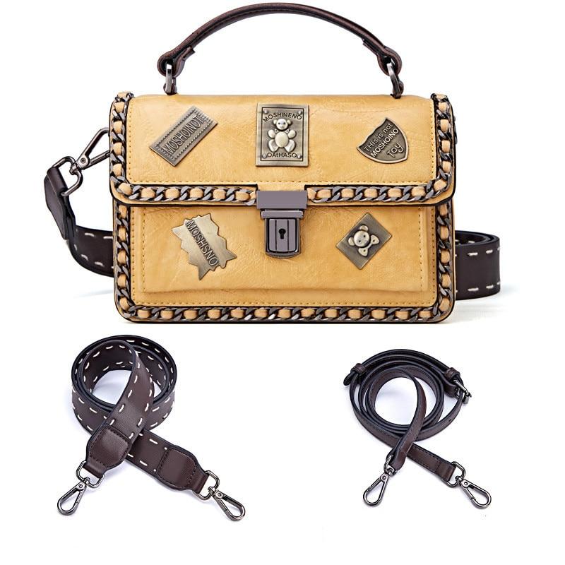 Sac à bandoulière femme sacs à main de mode Designer sacs à main en cuir PU Messenger Corssbody sac à main femme badge rétro avec 2 sangles