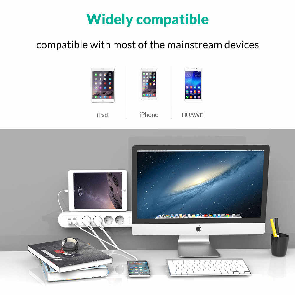ORICO ue listwa zasilająca z 4 porty USB do ładowania 4 gniazdo wtykowe wielofunkcyjny Home Office szybkie ładowanie inteligentna listwa zasilająca ładowarka