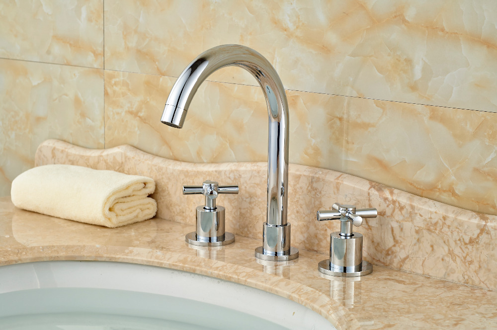 Luxury Deck Mounted Chrome Brass Bathroom Basin Sink Faucet Mixer tap 3PCS 2 Handles ouboni 3pcs set bathtub luxury golden plated bathroom faucet european split basin mixer tap ceramic faucet body cross handles