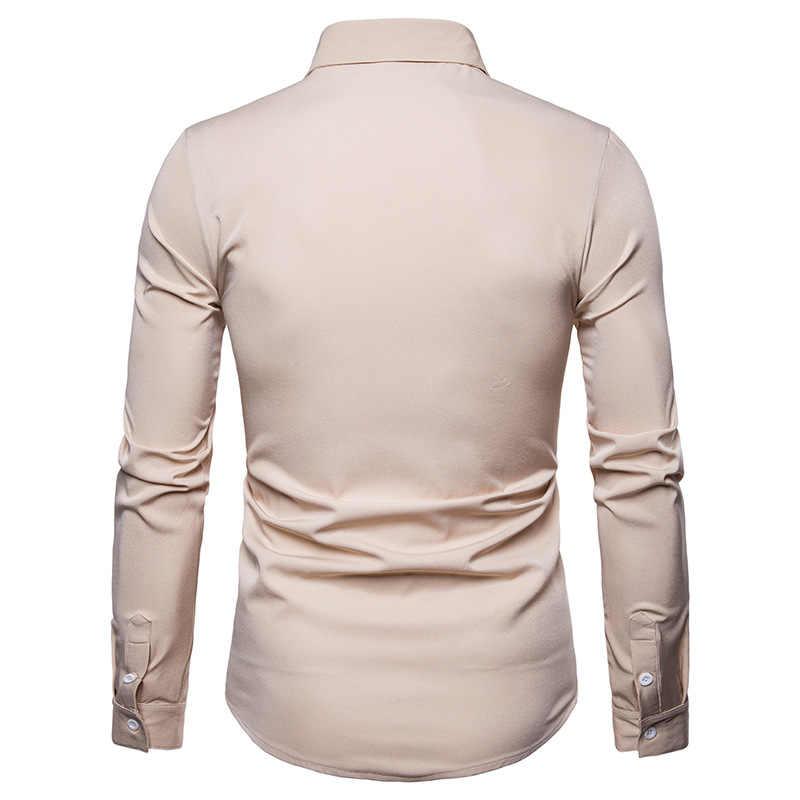 Schotse Jacobite Ghillie Kilt Shirt Mannen Chemise Homme 2018 Fashion Slim Fit Effen Kleur Lange Mouwen Tuxedo Dress Shirt Heren top