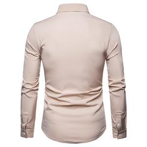 Image 4 - Scottish Jacobite Ghillie Kilt Shirt Men Chemise Homme 2018 Fashion Slim Fit Solid Color Long Sleeve Tuxedo Dress Shirt Mens Top
