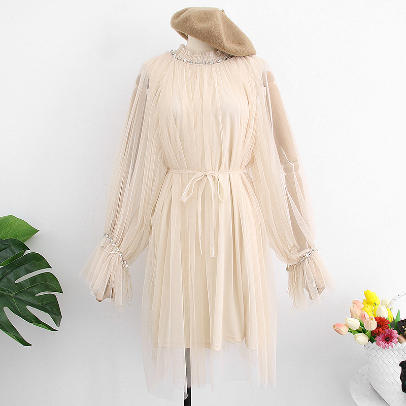 Beige Black Khaki High Collar Trumpet Long Sleeve Loose Dress
