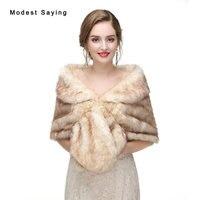 Elegant Bruin Faux Fur Wedding Sjaals 2017 Imitatie Wasbeer Bont Bridal Shrugs Warm Wraps Winter Bolero Jas Bruiloft Accessoires
