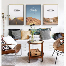 HAOCHU Nordic Canvas Print Decoration Painting Road Outdoor Landscape Character Personality Home Living Room Wall  Mural Poster