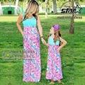 Mommy and Me Combinando Vestidos de Mãe e Filha de verão Roupas Meninas Chervon Vestido de Renda Queda Família Roupas Combinando