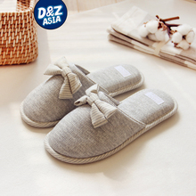 Millffy Japanese summer ladies flats cotton bow home slippers indoor slippers