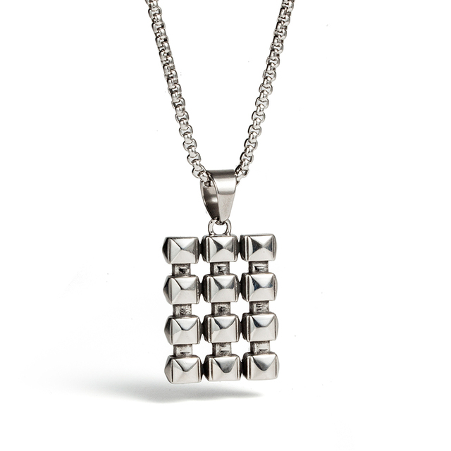 Alibaba aliexpress stainless steel necklaces for men unique 9 square ice cubes stainless steel necklaces silver pendant mens mozeypictures Choice Image