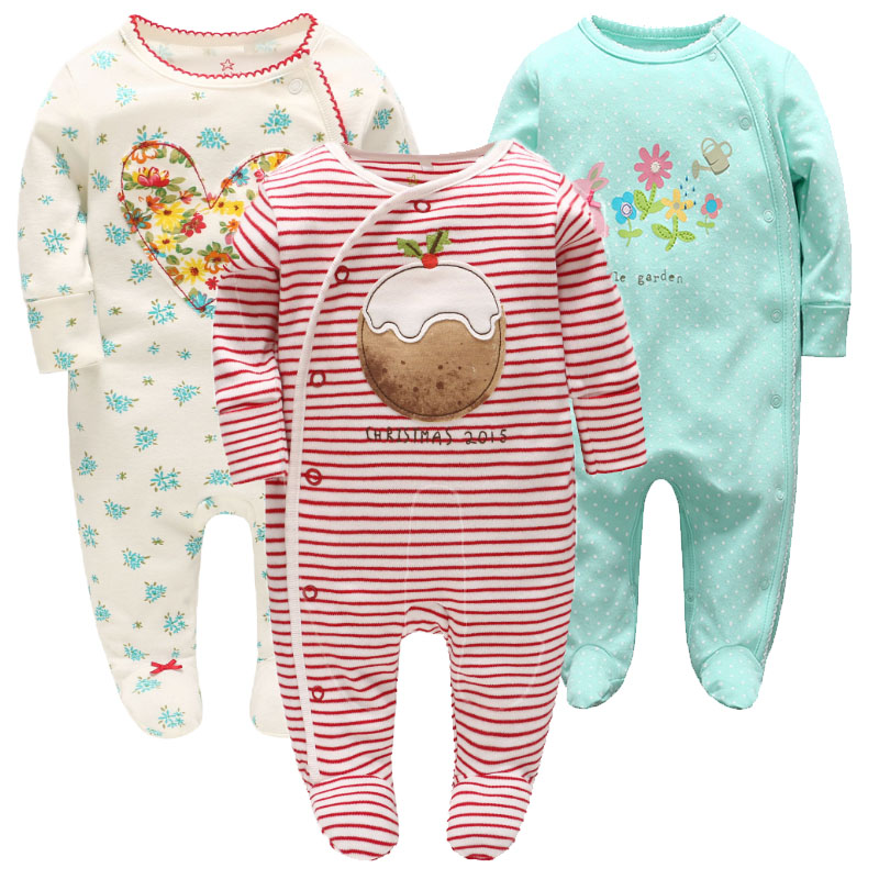 Picturesque Childhood 3-1 Newborn  Baby Girl Cake Smash Lovely Footies Long-sleeved Red And Green Color Clothes