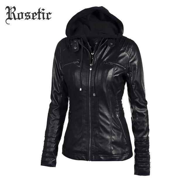 Rosetic Gothic faux áo khoác da Phụ Nữ hoodies Mùa Đông Mùa Thu Xe Máy Áo Khoác Áo Khoác Ngoài Màu Đen giả da PU Áo Khoác HOT