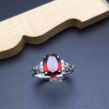 Natural red garnet gem Ring Natural gemstone ring 925 sterling silver trendy elegant Hollow branches  women party fine Jewelry
