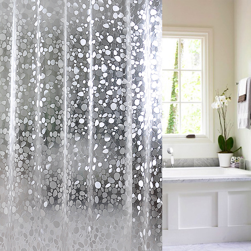 JG29 Plastic PEVA 3d Waterproof Shower Curtain Transparent White Clear Bathroom Luxury Bath With 12pcs Hooks