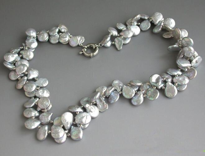 Charmant véritable bijoux en perles, 2 brins 21 pouces 4-12mm gris collier de perles de culture d'eau douce, nouvelle livraison gratuite
