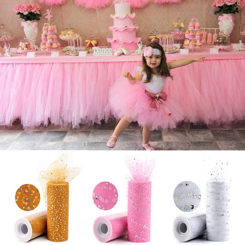 Image 2 - Frigg Gold Wedding Table Runner 25 Yards Glitter Shimmering Tulle Rolls Birthday Party Decorative Table Runner Roll Home Decor-in Table Runners from Home & Garden