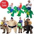Inflables Disfraces de Halloween Para Los Niños Adultos Fan t-rex Dinosaurio Vaca Unicornio Caballo Del Vaquero De Sumo Traje Inflable Gorila