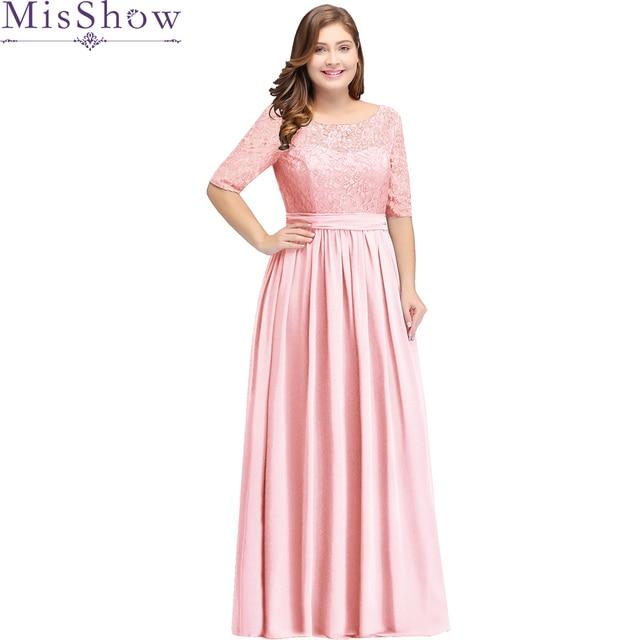 4ebef61e63a0e Pembe Uzun Gelinlik modelleri artı boyutu 22 W 24 W 26 W 2019 Vestido longo  Kepçe Boyun Düğün Parti Önlük ucuz Kadınlar Nedime Elbise
