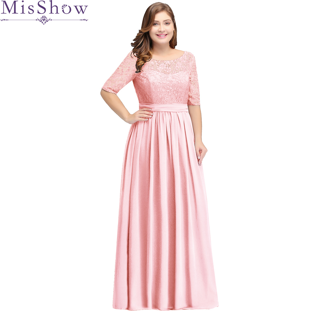 Pink Long   Bridesmaid     Dresses   plus size 22W 24W 26W 2019 Vestido longo Scoop Neck Wedding Party Gowns Cheap Women   Bridesmaid   Dres