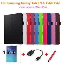 Para Samsung Tab E 9.6 Litchi piel del soporte del Cuero protectora cubierta Para Samsung Galaxy Tab 9.6 E T560 T561 Tablet PC + pen + Película + OTG