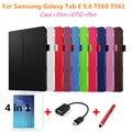 Para Samsung Tab E 9.6 Litchi piel del soporte del Cuero protectora tableta de la cubierta para samsung galaxy tab e 9.6 t560 t561 PC + pen + Película + OTG