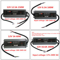 LED Quality ultra thin waterproof power supply IP67 12 / 24V DC transformer 60W / 100W / 150W / 200W, 2A 4A 5A 6A 8A 12A 16A