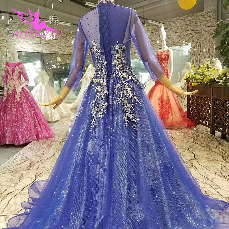 AIJINGYU White Muslim Dress Long Train Gowns Turkey Casual Tulle Pleated Ball Gown Discount Designer Wedding Dresses