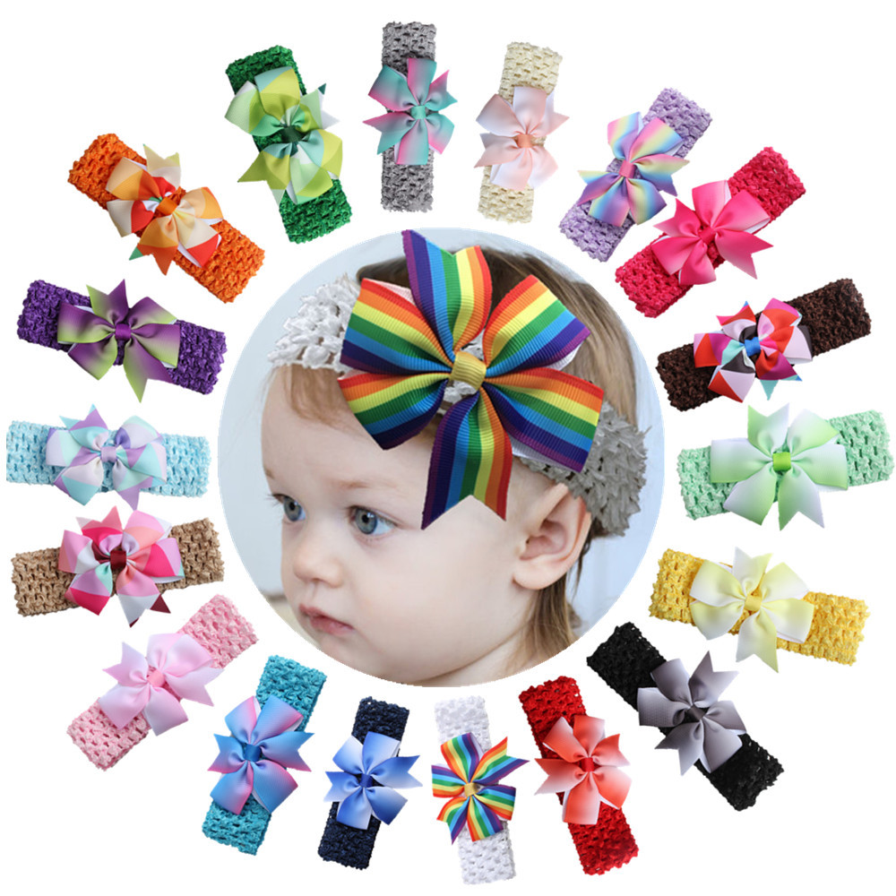 Audacious Baby Hair Accessories Patchwork Colorful Baby Headband Headwear Bowknot Elastic Hair Band For Girl Gift 10 Pcs/lot Girls' Baby Clothing