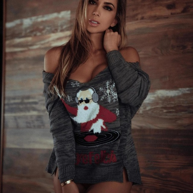 998812630a New Ugly Christmas Sweater Women Santa Claus Sexy V-neck Pullovers Knitting  Jumper Tricot Long Sleeve Winter Clothes C80094