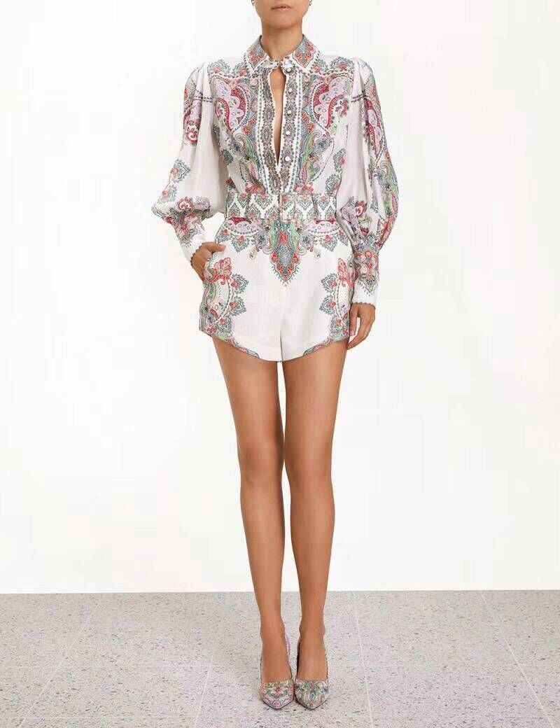 19 Summer Zim Gypsy Girl Boho Wind Exceed Beautiful Flower Colour Baroque Cotton Jacket + Shorts Suit