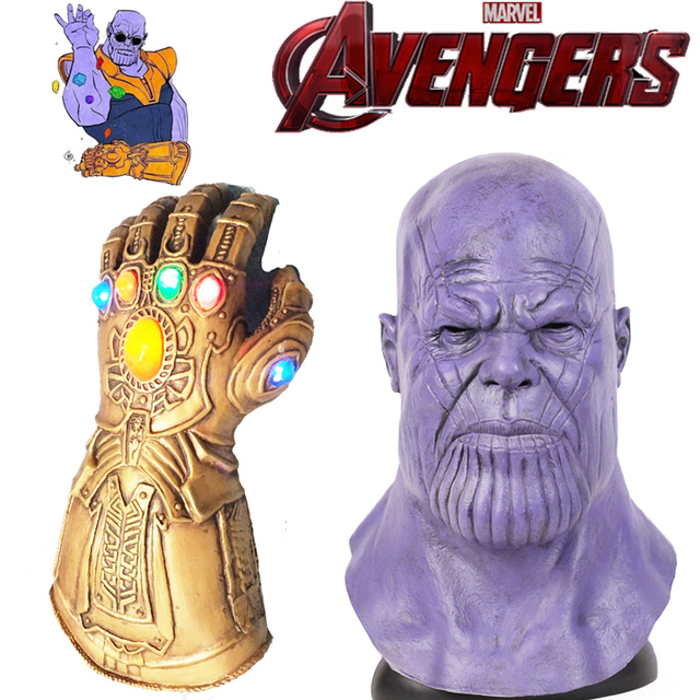 US $16 48 23% OFF|Thanos LED Infinity Gauntlet glove Mask Cosplay Props  Latex Gloves Full Face Helmet Unisex Avengers4: Endgame Accessories-in  Costume