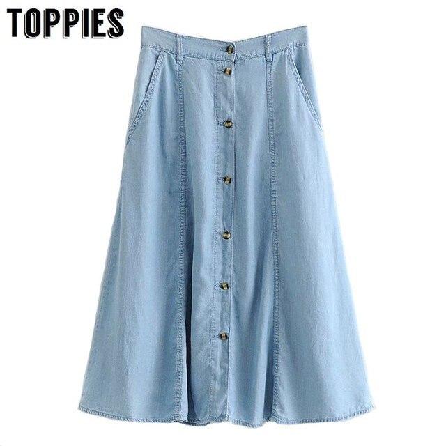 קיץ ג 'ינס Midi חצאיות גבוהה מותן לחצן קו ג' ינס חצאיות קוריאני סגנון נשים בציר Streetwear