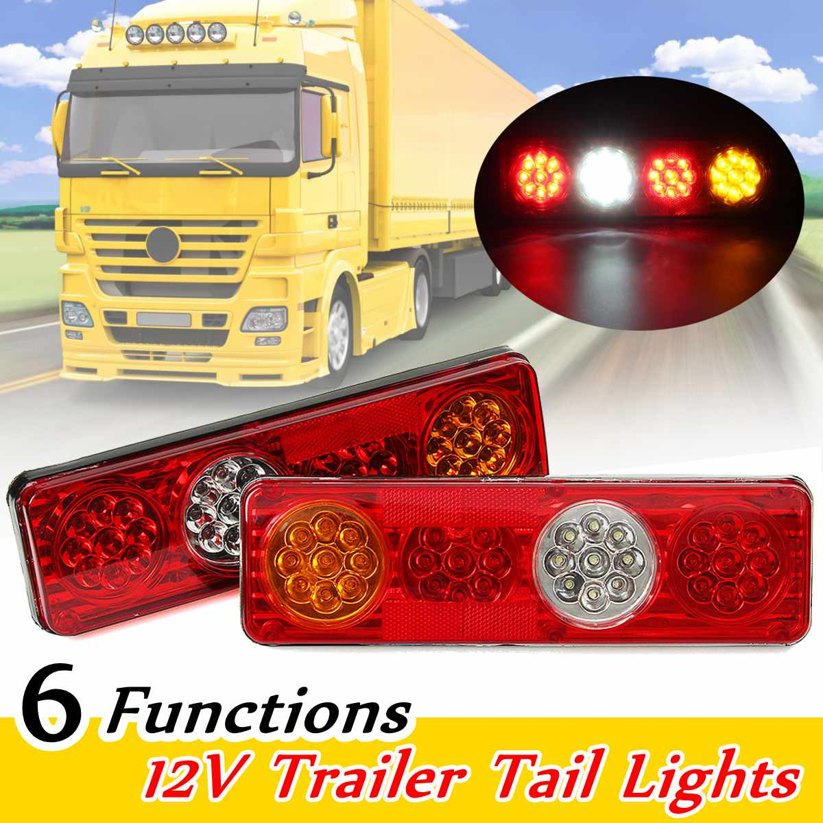 12V 6 Functions 36 LED Rear Tail Lights Lamp Trailer Caravan Truck Lorry кроссовки asicstiger asicstiger as009aujhk94