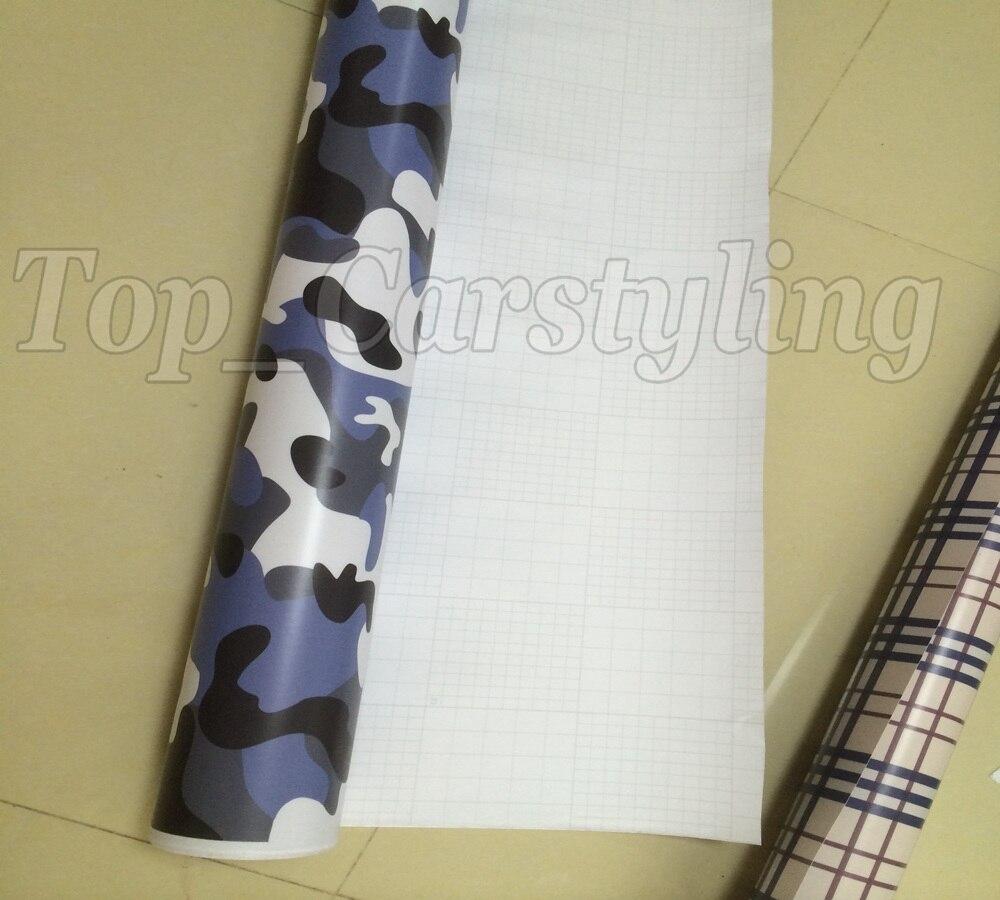Black & Snow White & Blue Car Styling Camo Camouflage Vinyl Foil Car Wraps Bubble Free Real Print Bombing Camouflage 1.52X30M