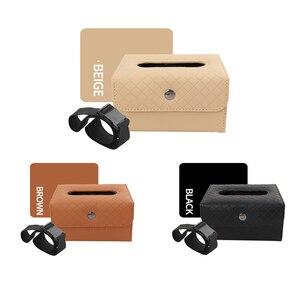 Image 2 - Car Armrest box tissue box Creative holder Leather seat back hanging pater towel case Storage bag for car interior accessores