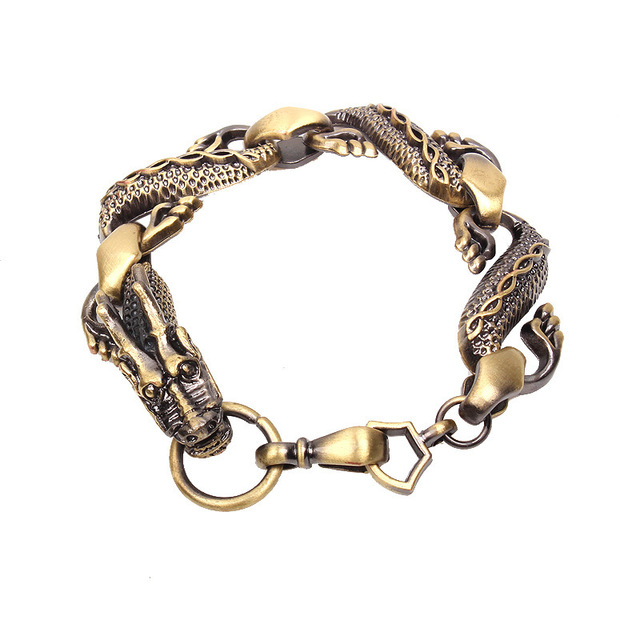 Antique Bronze Chinese Dragon Alloy Braclet With Ring Men Jewelry
