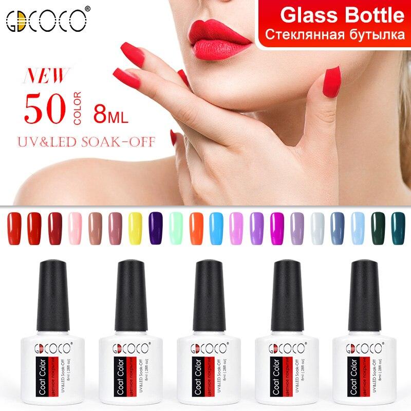 Esmalte de uñas de Gel permanente largo barato de 70312 # suministro Canni 50 colores GDCOCO empapa de Gel LED UV barniz capa Color Gel polaco