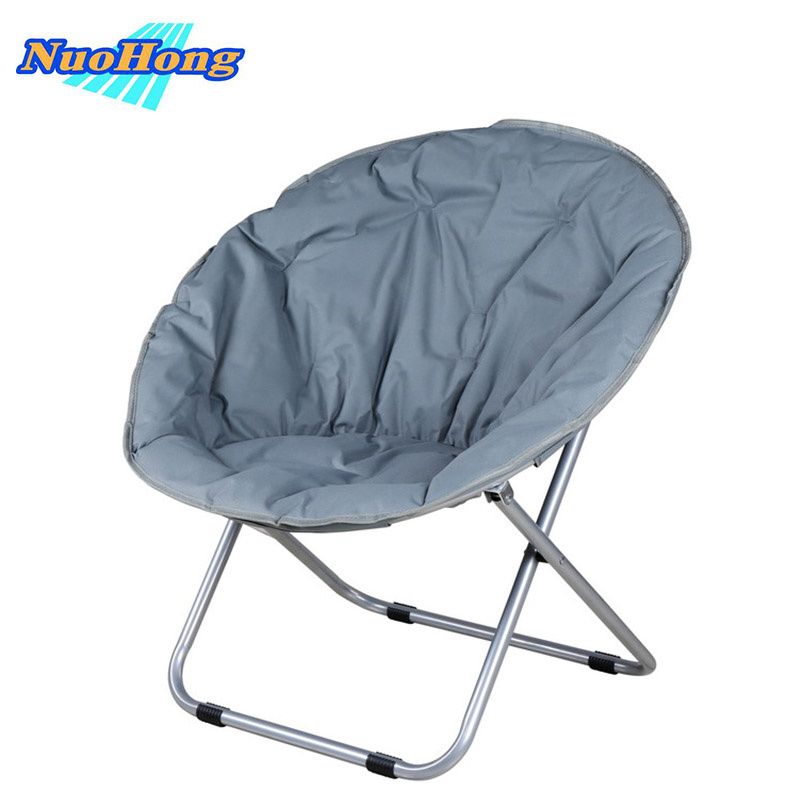 NUOHONG 2017 Folding Big Moon Chair Fashion Outdoor Furniture Tourist Camping Chairs Stainless Steel Metal