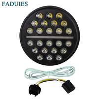 FADUIES 7 Round Harley LED Projection Headlight For Harley Motorcycles Fat Boy FLSTF Lo FLSTFB Touring Trike