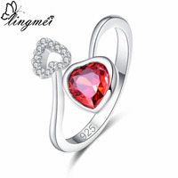 lingmei New Comes Heart Red & Champagne White CZ Silver Color Ring Size 6 7 8 9 Romantic Lovers Fashion Women Jewelry Wedding