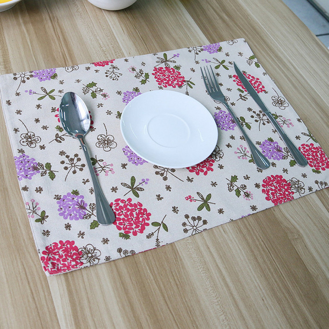 4pcs Lot Floral Printed Zakka Dining Table Mat Set To Forma Silicone Mantel