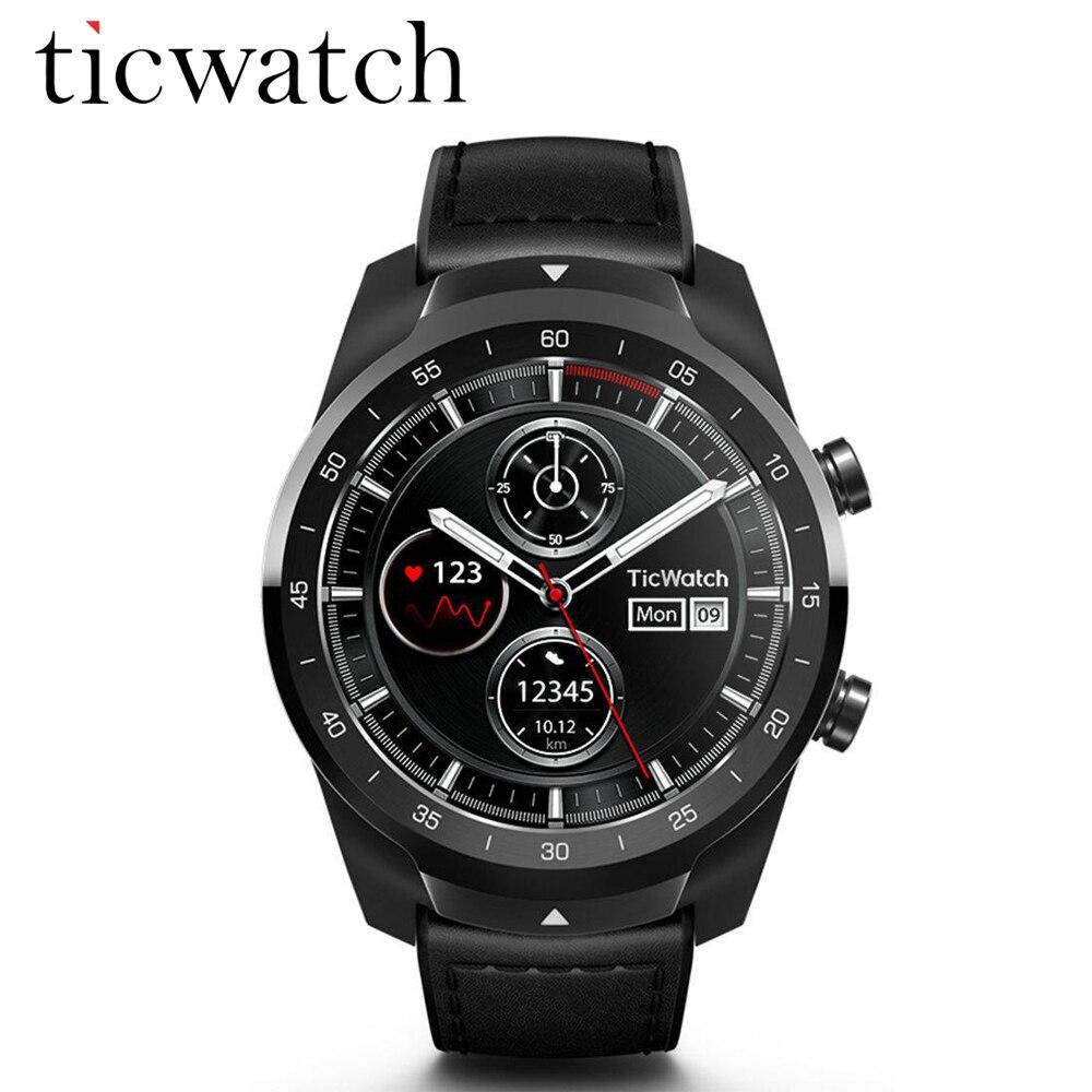 100% Original mondial Ticwatch PRO Android porter NFC Google Pay GPS montre intelligente IP68 étanche AMOLED affichage smartwatchs pour hommes
