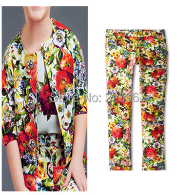 New Flower Printed Pants , Brand Design Girls Winter &Autumn Pants