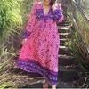 Women Floral Print Bohemian Maxi Dress Gypsy Wrap Maxi Dress Vintage Puff Sleeve Blossom Boho Maxi