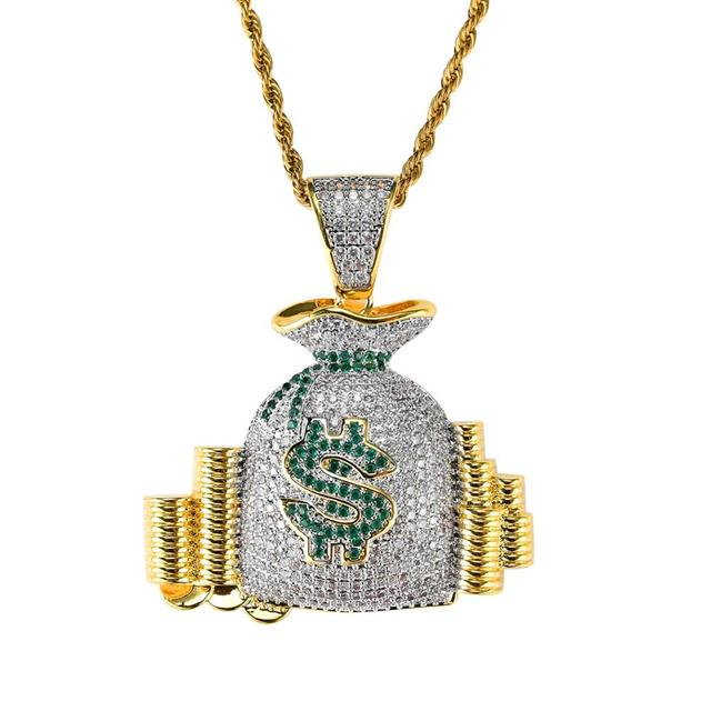 Men Hip hop Iced out bling dollar pocket Pendants necklaces Pave setting Cubic Zirconia male charm necklace Hiphop jewelry gifts