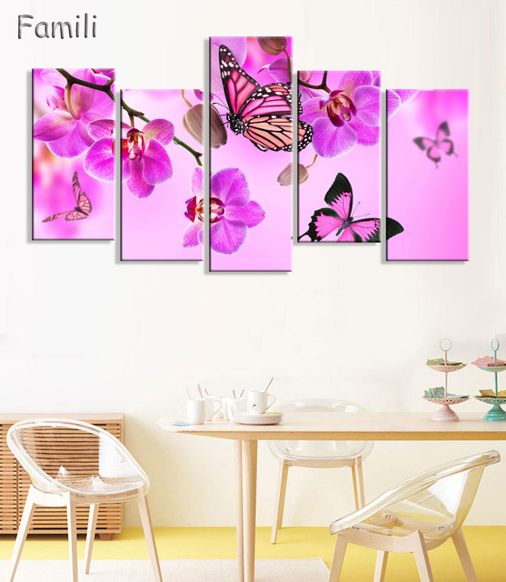 5 Pieces Frameless Canvas Photo Prints Purple Orchid Wall Art ...