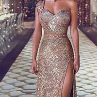 One Shoulder Long Dress Women Sexy Sequined Evening Party Ball Gowns Sleeveless Gold Split High Waist Maxi Elegant Self design