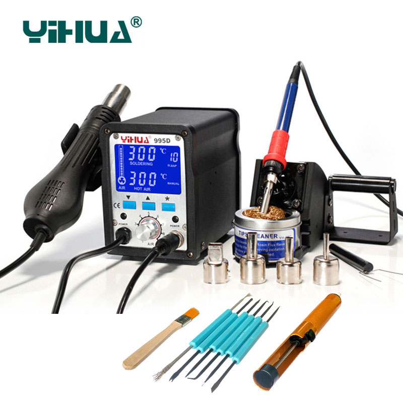 YIHUA 2 In 1 Soldering Station 995d Hot Air Gun Soldering Iron Motherboard Desoldering Welding Repair 110V/220V Electric iron h878a multifunction 110v hot air desoldering station with electric soldering iron and soldering iron stent for drying