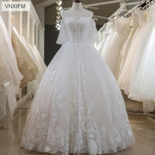 VNXIFM Latest A-Line Wedding Dresses Lace  Appliques Sexy Back With Lace-up Charming Bridal Custom Made Gowns
