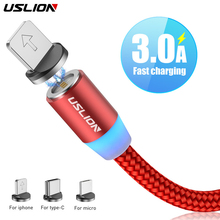 USLION Fast Charging Magnet USB Micro Cable 1M 3A Type C Type-C LED For Samsung S10 S9 Magnetic Charger Iphone XS 7 XR