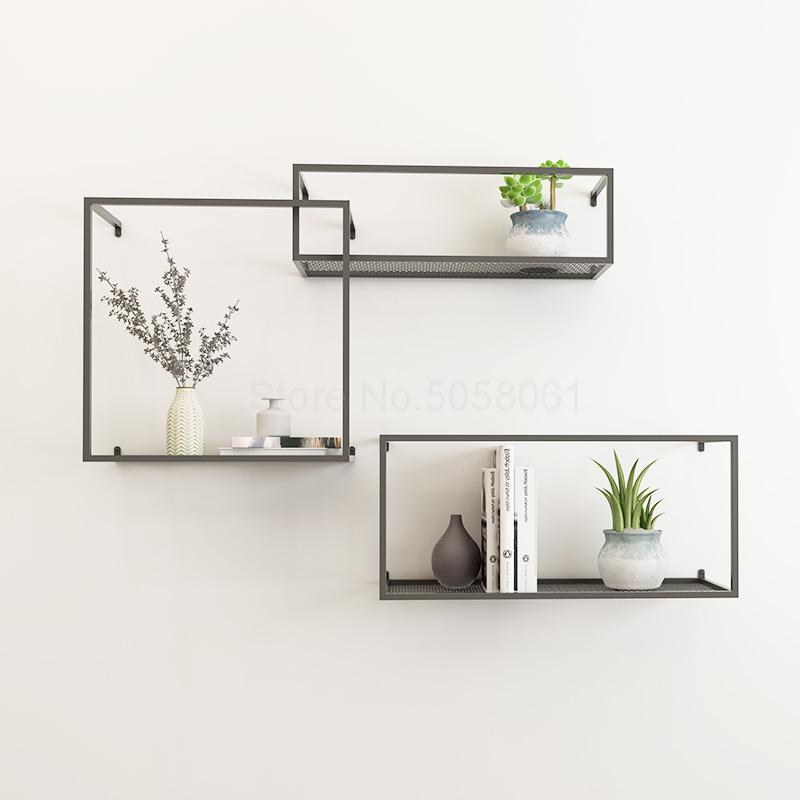 Nordic Wrought Iron Wall Shelf Living
