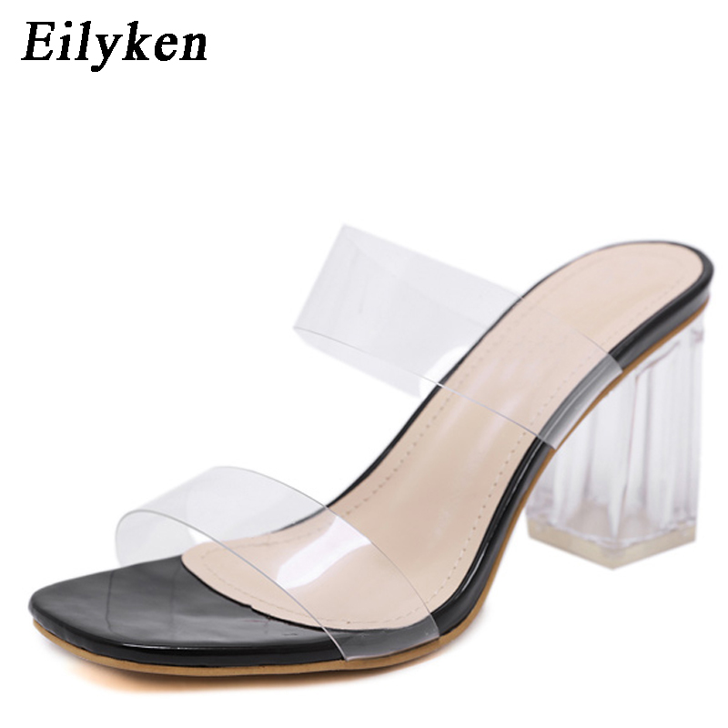 f9e5e641b7f US $16.46 32% OFF|Eilyken 2019 PVC Jelly Sandals Open Toe High Heels Women  Transparent Slippers Shoes Square heel Clear Sandals size 35 40 Black-in ...